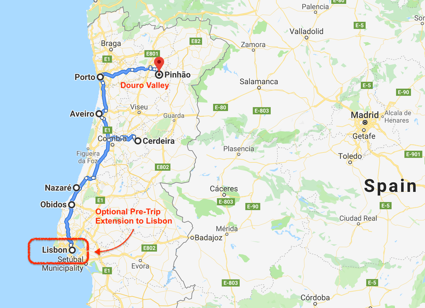 Map of 2020 A Taste of Portugal Trip by Ralph Velasco