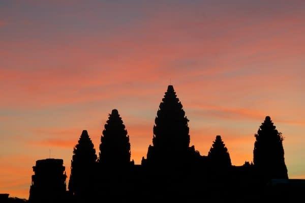 Angkor Wat at Sunrise in Silhouette - Siem Reap, Cambodia - Copyright 2012 Ralph Velasco