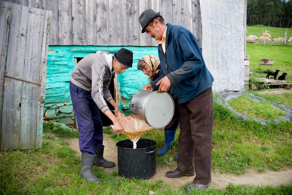 Dinu, Ileana and Nicu Filtering Milk through Handkerchief - near Sibiu, in Transylvania, Romania by Ralph Velasco