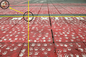 Grid with Arrow, Handprints and Mexico by Ralph Velasco