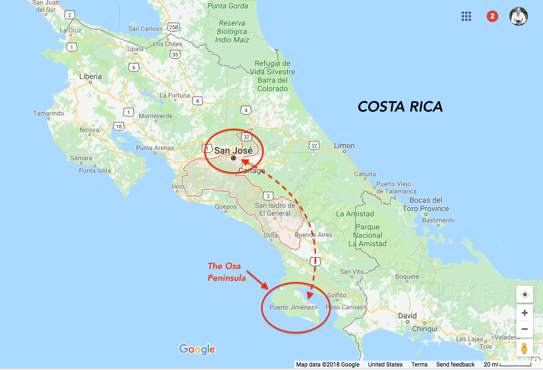 Map of Ralph Velasco's Costa Rica Explorer trip for June 2019.